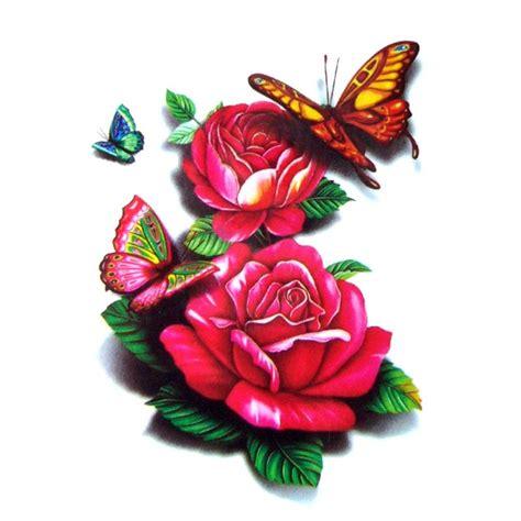 tatouage temporaire rose rouge 3d