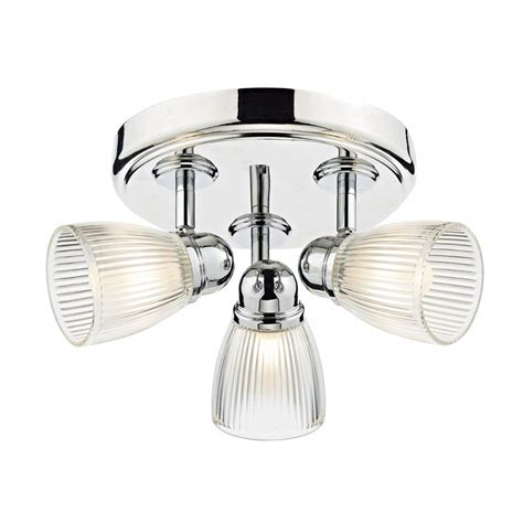 Glass Bathroom Light Shades Dar Lighting Cedric 3 Light Bathroom Ceiling Spot Light Fitting In Polished Nickel Finish With