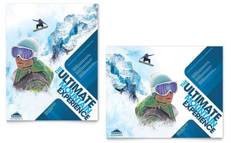 snowboard design template ski snowboard instructor poster template design
