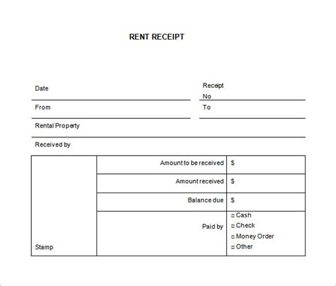 7 rent receipt template word lease template