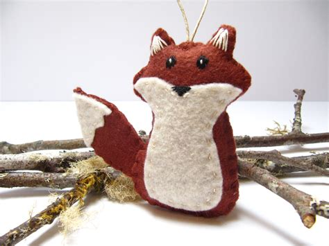 personalized fox ornament fox christmas ornament wool felt