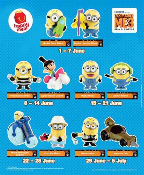 Promo Happy Meal Agnes Rockin Unicorn Minion Mcd Mcdonald Minions free despicable me 3 minion toys giveaway