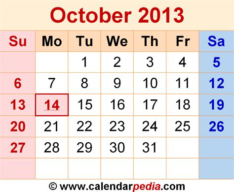 Calendar October 2013 October 2013 Calendars For Word Excel Pdf