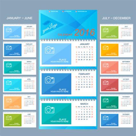 desk calendar templates 2016 desk calendar template vectors set 16 vector