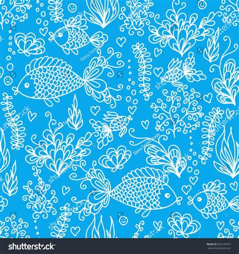 cute ocean pattern cute doodle underwater sea ocean seamless stock vector