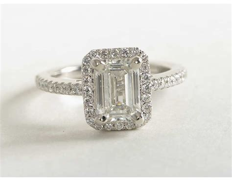emerald cut halo engagement ring in 14k white gold