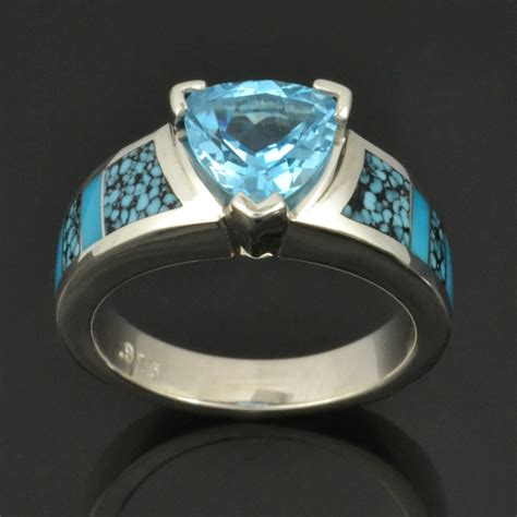 turquoise opal engagement rings spiderweb turquoise engagement ring with trillion cut blue
