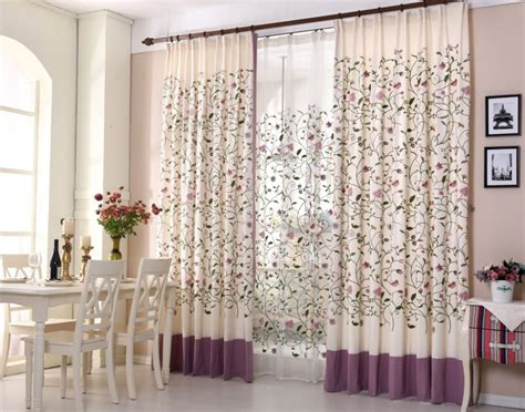 Floral Curtains For Living Room by Floral Blackout Blinds Embroidered Cotton Fabric Curtain