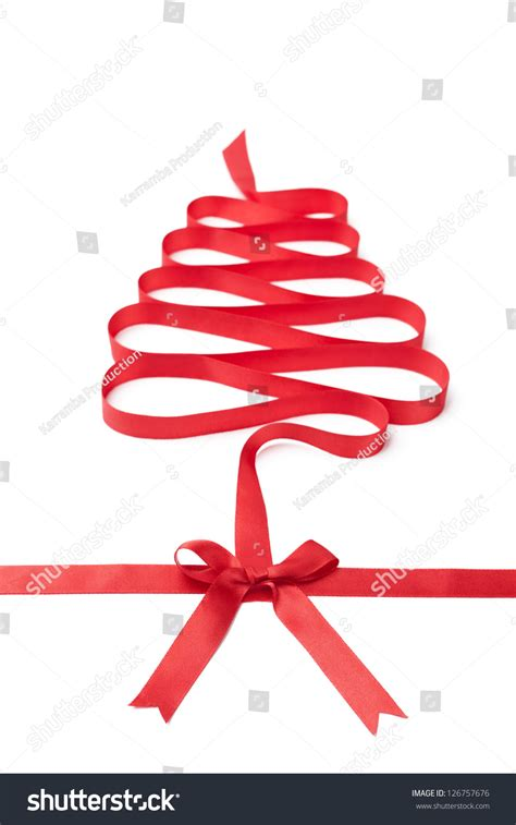 happy holiday tree ribbon the spiral ribbon looks as tree isolated on white symbol of and happy