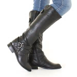 Womens black leather style riding biker strap flat ladies knee high