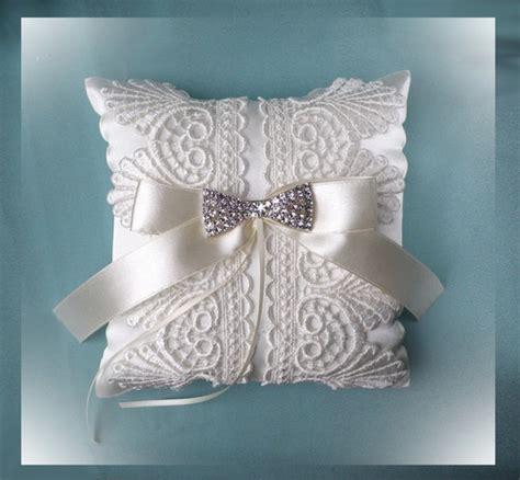 ivory lace wedding ring cushion size 20x20 cm wedding