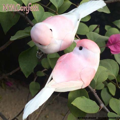 Pink Bird Wedding Angpao aliexpress buy 12pcs decorative pink bird artificial foam feather mini birds with