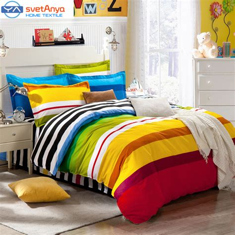 Single Bed Sets For Boys Aliexpress Buy Rainbow Color Stripes Boys Bedding Set For Single Bed Flat Bedsheet