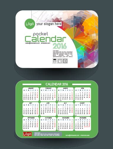 Business Card Calendar Template 2016 Free by Business Card Calendar Vector Image Collections Card