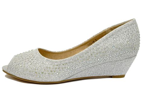 Best Seller Wedges On 02 Wedges silver wedding bridal bridesmaid peep toe prom diamante wedge shoes 3 8 ebay