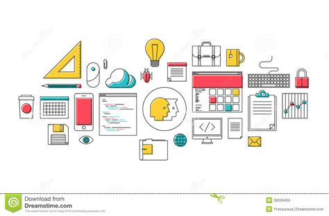 web design and programming tutorial trendy web design and programming icons stock vector