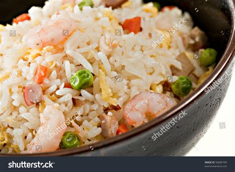 traditional bowl food closeup bowl of shrimp stir fry rice traditional