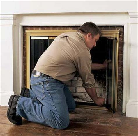 fireplace doors installation for holes how to install glass fireplace