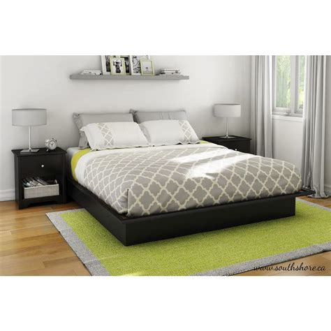 King Bed Platform South Shore Step One King Size Platform Bed In Black 3070248 The Home Depot