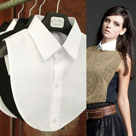 White Black Collar Set Toppants 2017 shirt collar white black tie vintage detachable collar false collar lapel blouse top