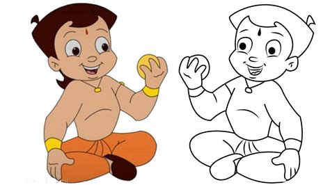 how to draw chota bheem amp learning colors cartoon and