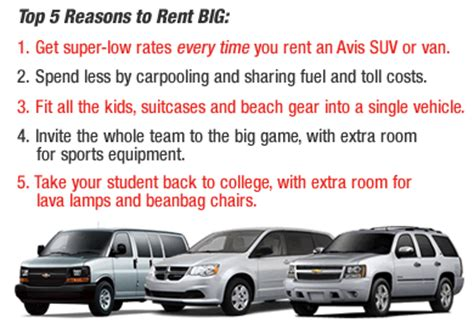 Car Rental Types Avis by Size For Rent Autos Post