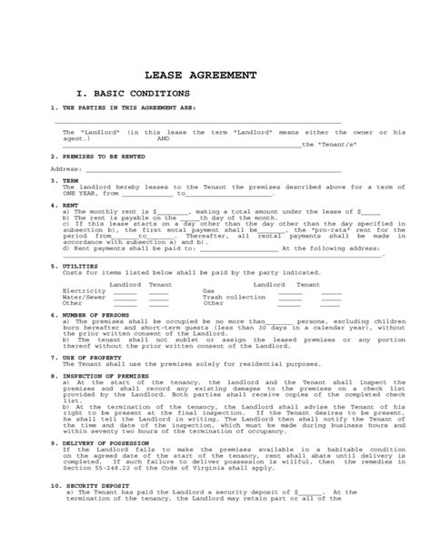 Virginia Residential Lease Agreement Form Free Download One Year Lease Template