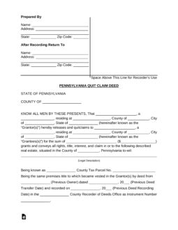 Free Pennsylvania Quit Claim Deed Form Pdf Word Eforms Free Fillable Forms Pennsylvania Deed Template