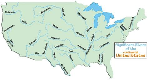 map of the united states rivers lakes and mountains continental usa rivers homeschool social studies