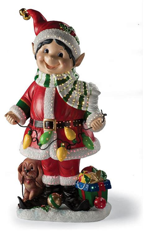 fiber optic elf holding color light string frontgate