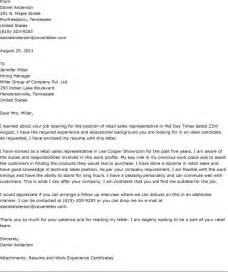 Cover Letter Sle Letter by Wining Cover Letter Sle For Sales Position