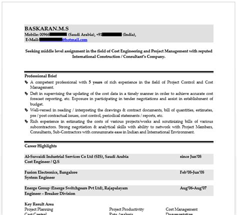 cv format kuwait resume for cost engineer kuwait market