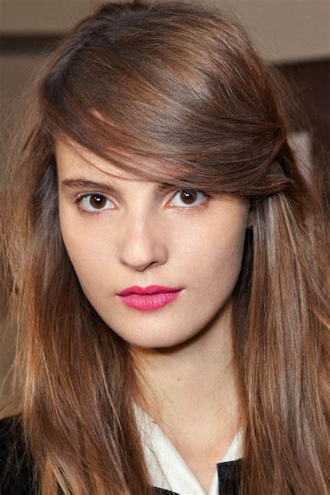 brunette hairstyles wiyh swept away bangs light brown the latest trends in women s hairstyles and