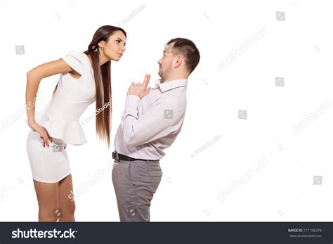 woman dominates husband female boss berates his subordinates interaction in the