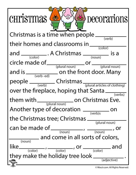 printable holiday mad libs christmas decorations mad libs woo jr kids activities