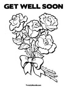 get well coloring pages get well soon roses rmh lunch bags