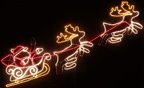 animated 240cm led santa and reindeer christmas motif rope