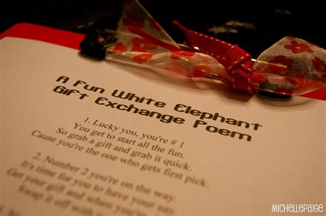 holiday gift exchange poem blogs white elephant gift exchange poem