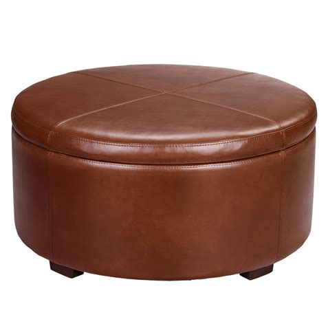small round ottoman with storage furniture round brown leather ottoman coffee table with