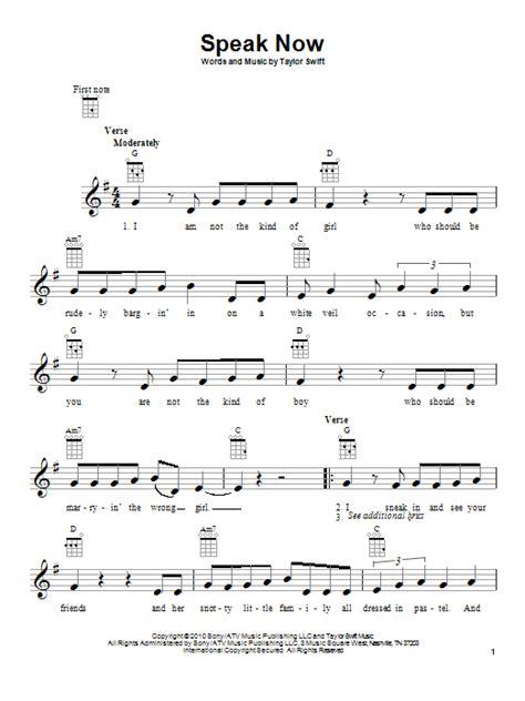 taylor swift easy ukulele chords speak now sheet music by taylor swift ukulele 87069