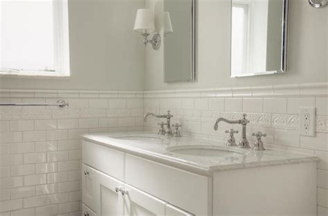 bathroom with subway tile traditional white subway tile bathroom
