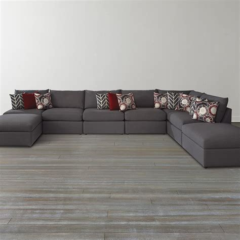 Ottoman For Sectional Black U Shaped Sectional Sofa With Ottoman For Living Room With Hardwood Floor Tiles And
