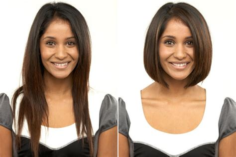 before snd after oval shapped face hair cuts women should never cut their hair