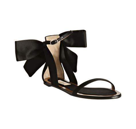 black bow flat sandals lyst valentino black satin bow detail flat sandals in black