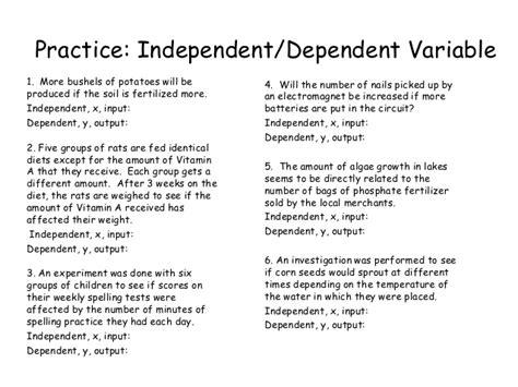 Independent Vs Dependent Variable Worksheet