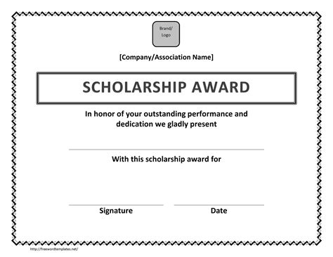 free templates for scholarship awards scholarship award certificate template