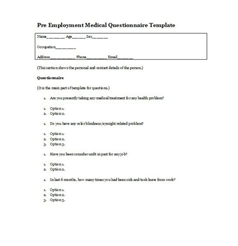 simple questionnaire layout sle survey forms download
