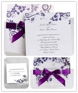 purple wedding invitations with ribbon ribbon wedding invitations invitesweddings