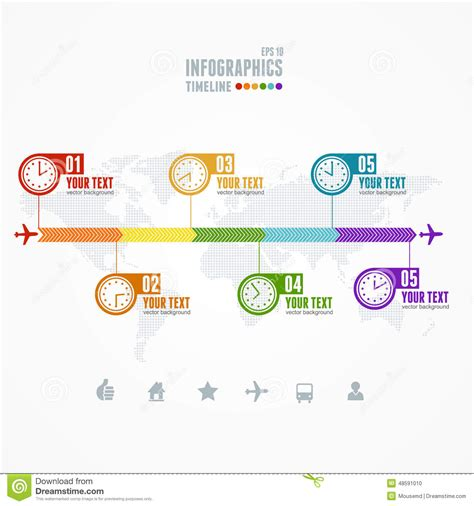 vector timeline infographic map and clock stock vector