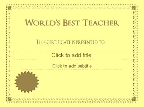 world s best teacher award certificate free certificate